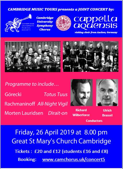 Announcement for joint concert of Cappella Aquensis and Cambridge University Symphony Chorus