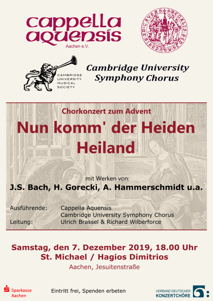 Announcement for joint concert of Cappella Aquensis and Cambridge University Symphony Chorus in Aachen